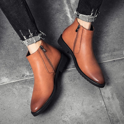 Yomior Fashion Autumn Winter Men Chelsea Boots Pointed Toe Vintage Handmade Leather Boots Business Formal Big Size Ankle Boots