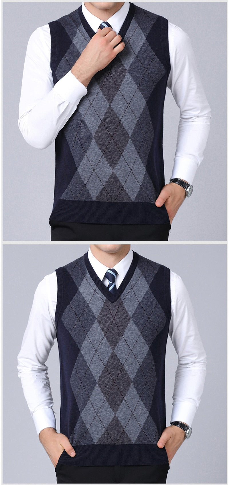 1b45535117 2019 New Fashion Brand Sweaters Mens Pullovers V Neck Slim Fit Jumpers Knit  Sleeveless Autumn Korean