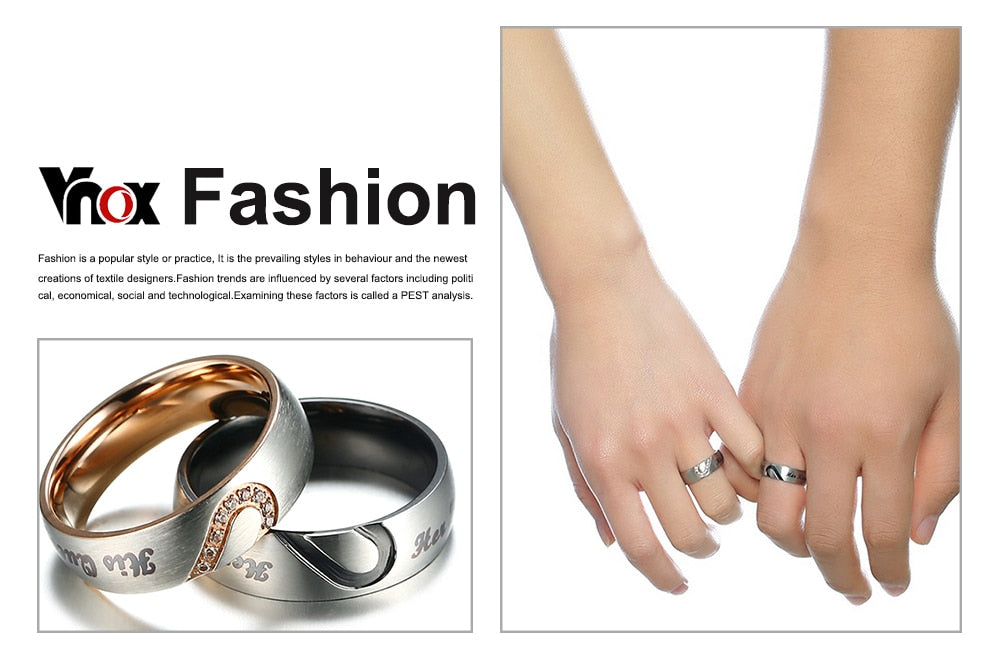 581a4b3781 Vnox Her King His Queen Couple Wedding Band Ring Stainless Steel CZ Stone  Anniversary Engagement Promise