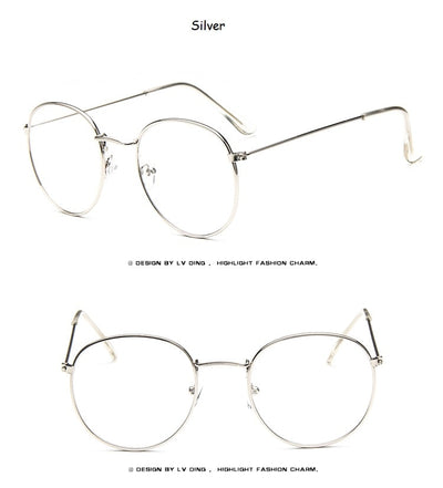 New Designer Woman Glasses Optical Frames Metal Round Glasses Frame Clear lens Eyeware Black Silver Gold Eye Glass