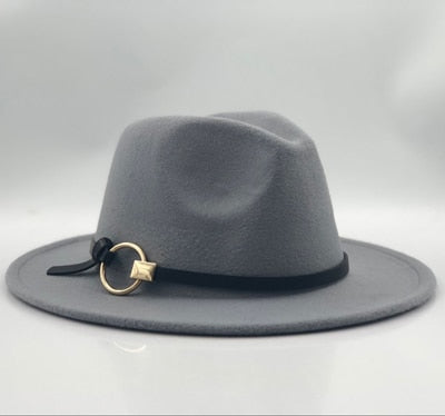 09e8613a08328 Wool Fedora Hat Hawkins Felt Cap Wide Brim Ladies Trilby Chapeu Feminino Hat  Women Men Jazz