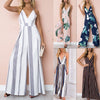 2018 Fashion Women Jumpsuit Sleeveless Striped Jumpsuit Summer Romper Wide Leg Trousers Womens V-neck Casual Clubwear Outfits