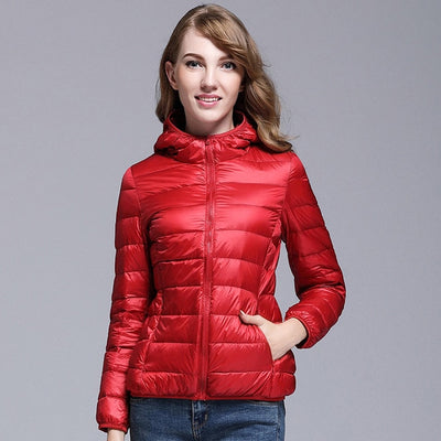 2018 Women White Duck Down Jacket Autumn Female Ultra Light Down Jackets Slim Solid Long Sleeve Hooded Parkas Candy Color