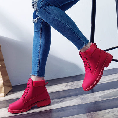 LEMAI Brand spring fall winter Top Quality Comfortable Platform Boots Women Ankle Boots Rubber Boots female lady Botas shoes