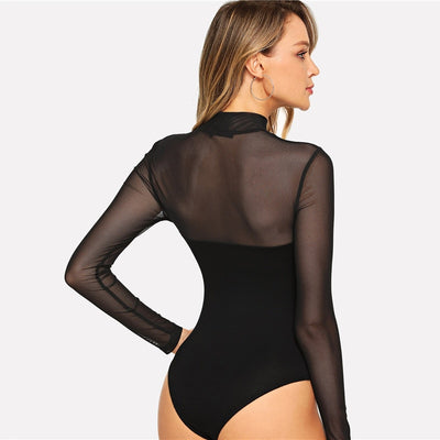 COLROVIE Solid Mock Neck Mesh Sheer Skinny Black Bodysuit Women 2019 Autumn Long Sleeve Sexy Body Office Female Basic Bodysuits