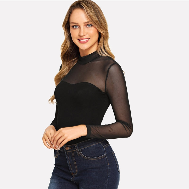 1c9f990ce3c COLROVIE Solid Mock Neck Mesh Sheer Skinny Black Bodysuit Women 2019 Autumn  Long Sleeve Sexy Body