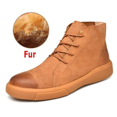 18889e0e96 Real Leather Men Male Boots Autumn Winter With Fur Warm Snow Boots Men  Winter Boots Work Shoes Men Footwear Rubber Ankle Shoes
