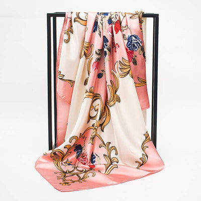 2018 Spring Summer Female Satin Scarf Big Square Scarves Gradient Butterfly Printed Women Scarf Light Silk Scarf Shawl 90*90cm