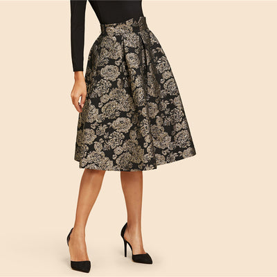 SHEIN Black Vintage Gold Flower Print Mid Waist Flare Knee-Length Skirt 2018 Autumn Elegant Modern Lady Women Skirts