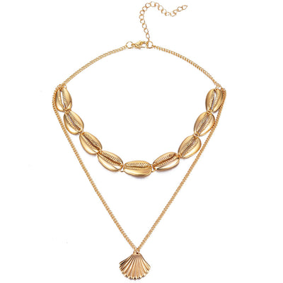 FAMSHIN Bohemian Multilayer Ocean Seashell Beach Pendants Necklace Women Fashion Gold Color Beach Shell Chain Necklace Jewelry