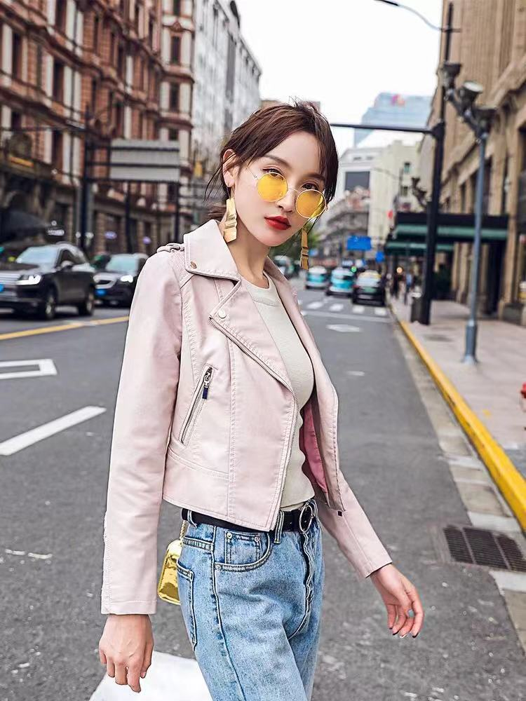 8355d938c Brand Motorcycle PU Leather Jacket Women Winter And Autumn New Fashion Coat  4 Color Zipper Outerwear jacket New 2019 Coat HOT