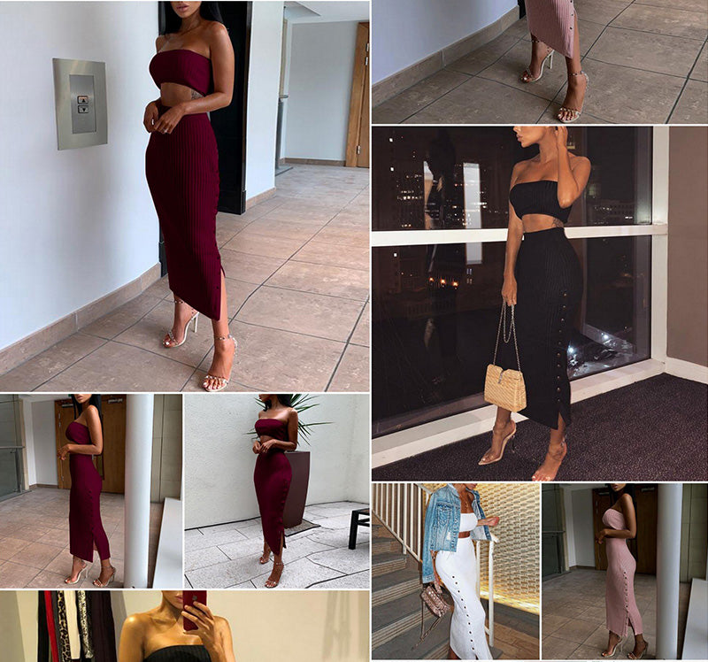 0c7dfabd563c Articat Off Shoulder Bodycon Autumn Winter Dress Women 2018 Two Piece  Knitted Buttons Split High Waist