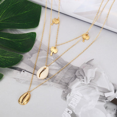 Ingemark Bohemia Multilayer Coconut Tree Shell Choker Necklace Statement Alloy Shell Natural Seashell Pendant Necklace for Women