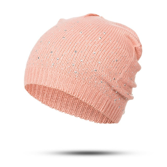 97f04a3d2dc Evrfelan winter autumn beanie hats women soft knitting skullies beanies hat  female fashion rhinestone cotton hat