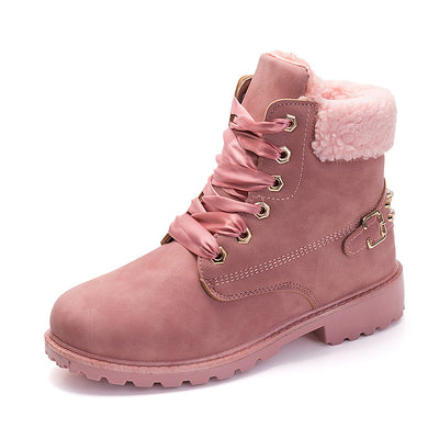 LEMAI New Pink Women Boots Lace up Solid Casual Ankle Boots Martin Round Toe Women Shoes winter snow boots warm british style