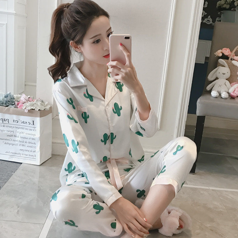 eba6feea21 Women s Pajamas Suits Top and Pants Pajama Sets Plus Size 5XL 4XL Autumn  Summer Satin Pajamas