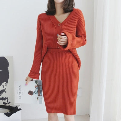 Winter Soft Warm Knitted 2 Pieces Set Full Sleeve Thicken Cardigan & Sweater Skirt Female Open Stitch Sweater Suits Set