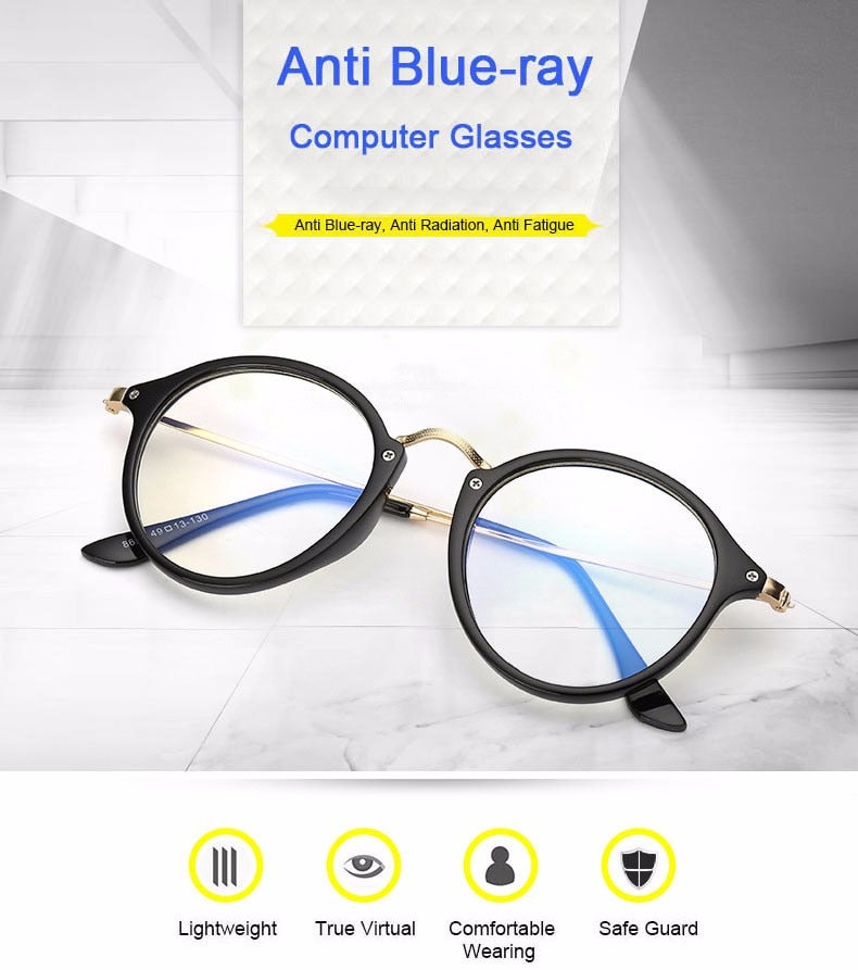 ffc405fa1c6 Anti Blue Ray Women Computer Glasses For Men Transparent Eyeglasses Round  Fashion Spectacle Frame Oculos De