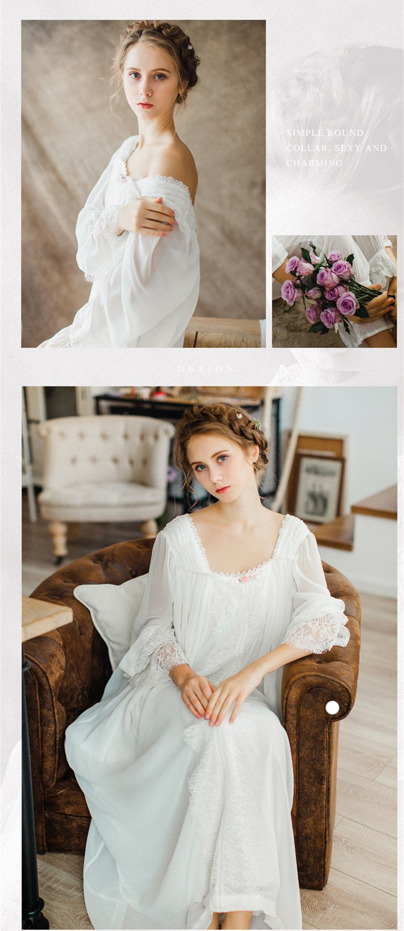 d68112bd21109 Healthy Home Dress Nightgown Women Plus Size Long White Cotton Sleepwear  Flare Sleeve Casual Night Dress