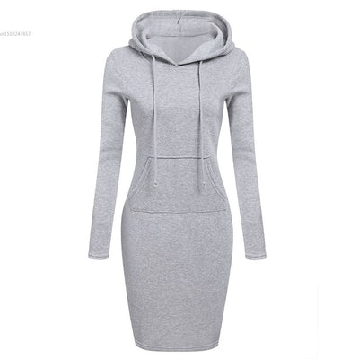 2019  Winter Warm Hoodies dress Women Fashion Slim Hooded Long Sleeve Solid Pencil Hoodie Dress bodycon pencil Dress