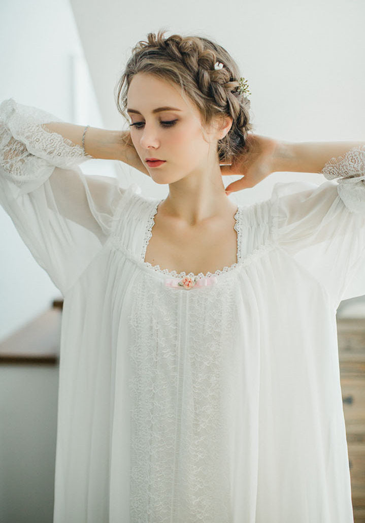 fadd2528ddb94 Healthy Home Dress Nightgown Women Plus Size Long White Cotton Sleepwear  Flare Sleeve Casual Night Dress