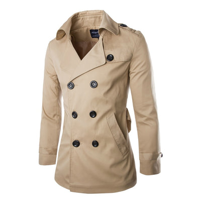 JZ CHIEF England Men Double Breasted Jacket Slim Fit Trench Coat Man Windbreaker Trench Overcoat Solid Outerwear Sash Trenchcoat