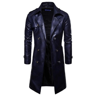 Men Long Trench Coat Autumn Winter British Slim Double Coat Breasted Europe Trenchcoat PU Male Coat Trench Plus Size XXXL
