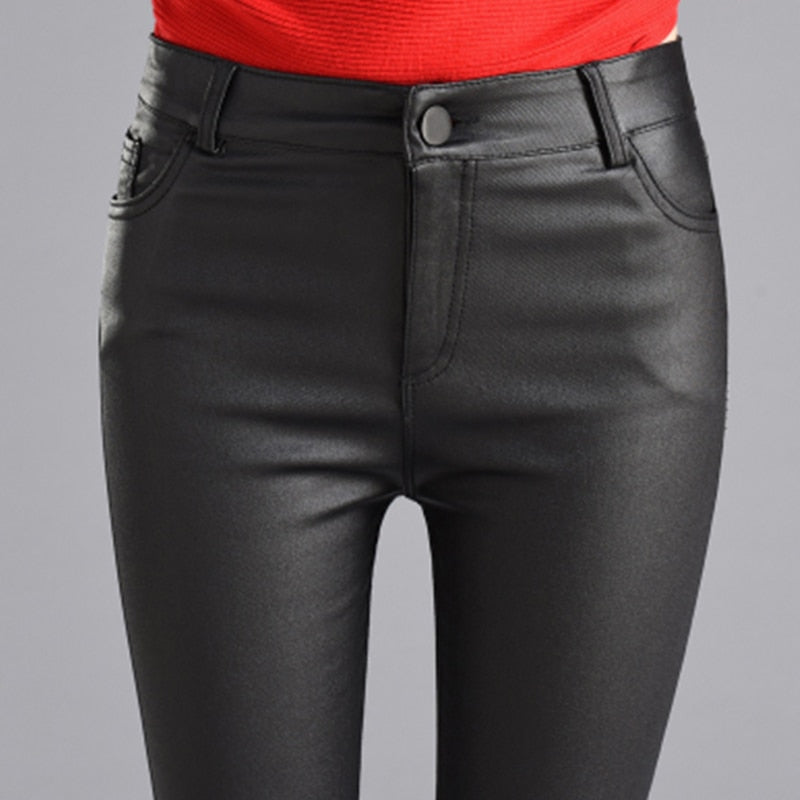 a569e8452cc Women Thin Velvet PU Leather Pants Autumn Winter Female Sexy Elastic  Stretch Skinny Tight Faux Leather