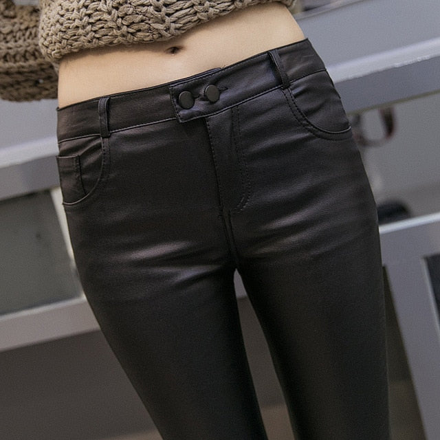 47181efee Women Thin Velvet PU Leather Pants Autumn Winter Female Sexy Elastic  Stretch Skinny Tight Faux Leather