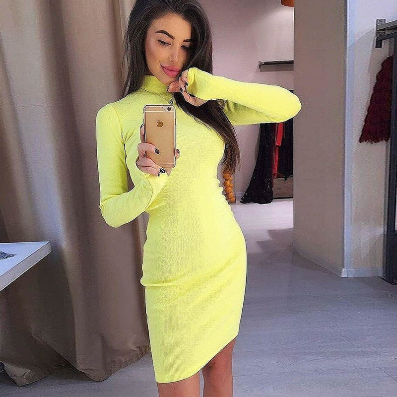 a79a678d02e RLMABABY Winter Turtleneck Ribbed Bodycon Sexy Dress Long Sleeve Christmas  Party Dress Casual Knitted Mini Vestidos