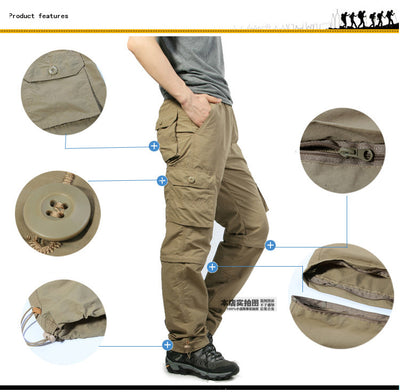2019 Vomint New Men's Cargo Pants Quick-dry Double-used Pants Elastic Waist Detachable Feet Loose Straight Waterproof Trousers