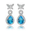 Wholesale Blue Gemstone Earrings For Women Pure 925 Sterling Silver Aquamarine Drop Earrings Fashion Christmas Jewelry Gift NEW