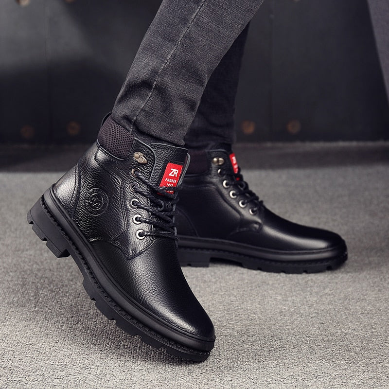 46472fb92b32 OSCO Genuine Leather Men Waterproof Boots Men Casual Shoes Fashion Ankle  Boots For Men High Top