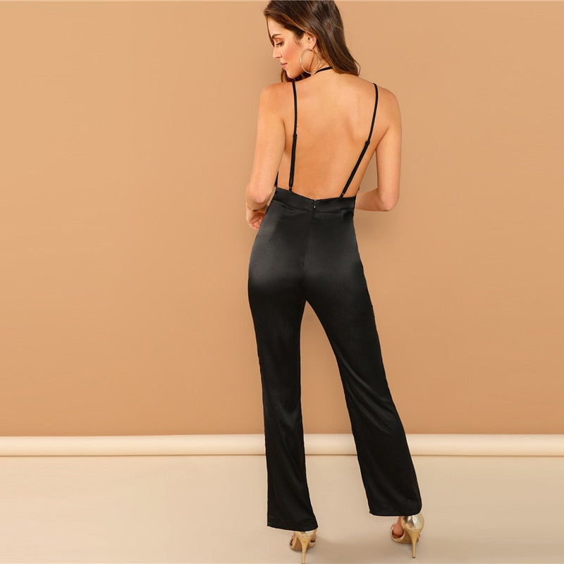 c5cda74087e8 SHEIN Black Plunging Neck Deep V Neck Contrast Sequin Halter Backless  Striped Jumpsuit Highstreet Women Autumn