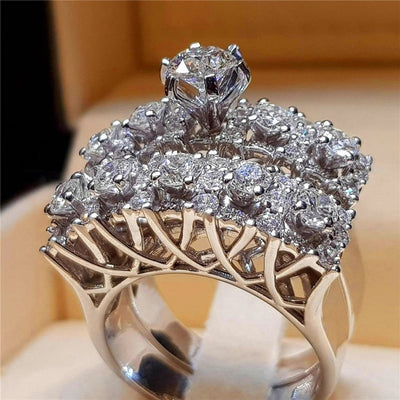 Boho Female Crystal White Round Ring Set Brand Luxury Promise 925 Silver Engagement Ring Vintage Bridal Wedding Rings For Women