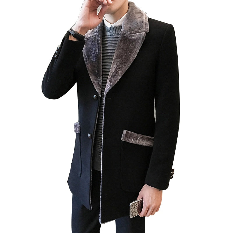 729eedf816c0 Fur Collar Trench Coat Men Wool Blend Winter Coat Slim Fit Men Manteau  Homme Mid-