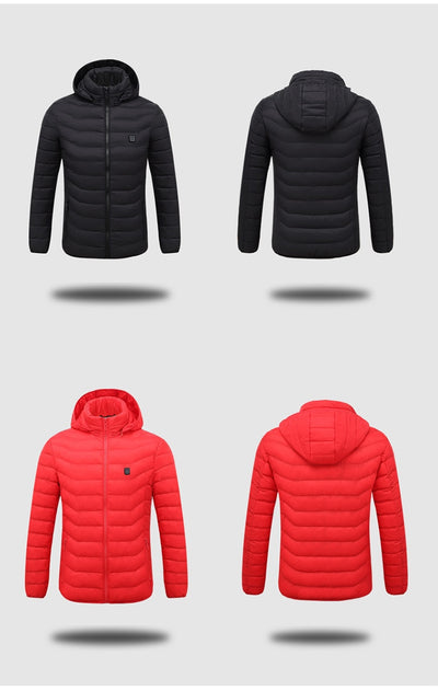 ZYNNEVA 2018 Winter Warm Heating Jackets Men Women Smart Thermostat Pure Color Hooded Heated Clothing Skiing Hiking Coats GK6104
