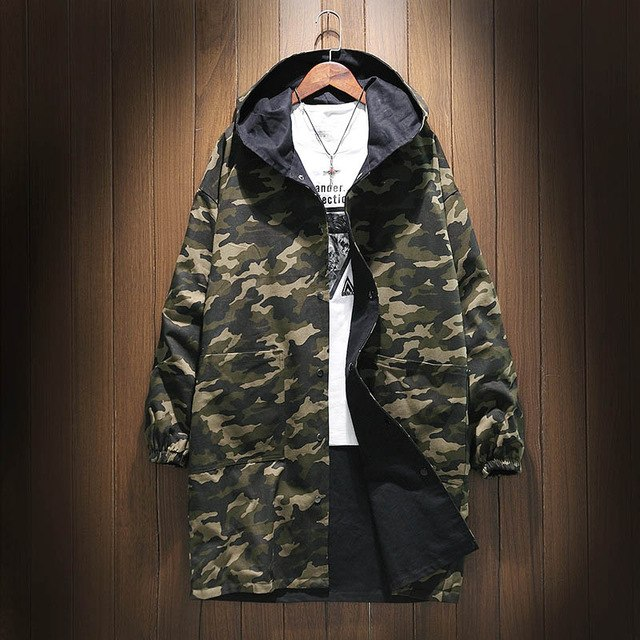 a1a70548c2cd Slim Camouflage Men Trench Coat Long Korean Spring Hooded Streetwear  Windbreaker Oversized Harajuku Erkek Mont Military