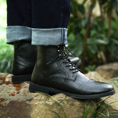 COSIDRAM Men Pu Leather Boots Winter Shoes Fashion Male Lace Up Warm Ankle Boots Men Rivet Brithsh Shoes 2018 BRM-053