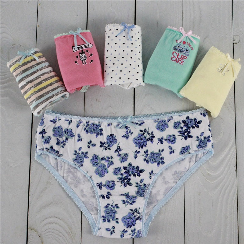 1ff878e1b1c 5PCS lot Women Panties Sexy Cotton Underwear Cute Printed Intimate Plus Size  Briefs Breathable pink