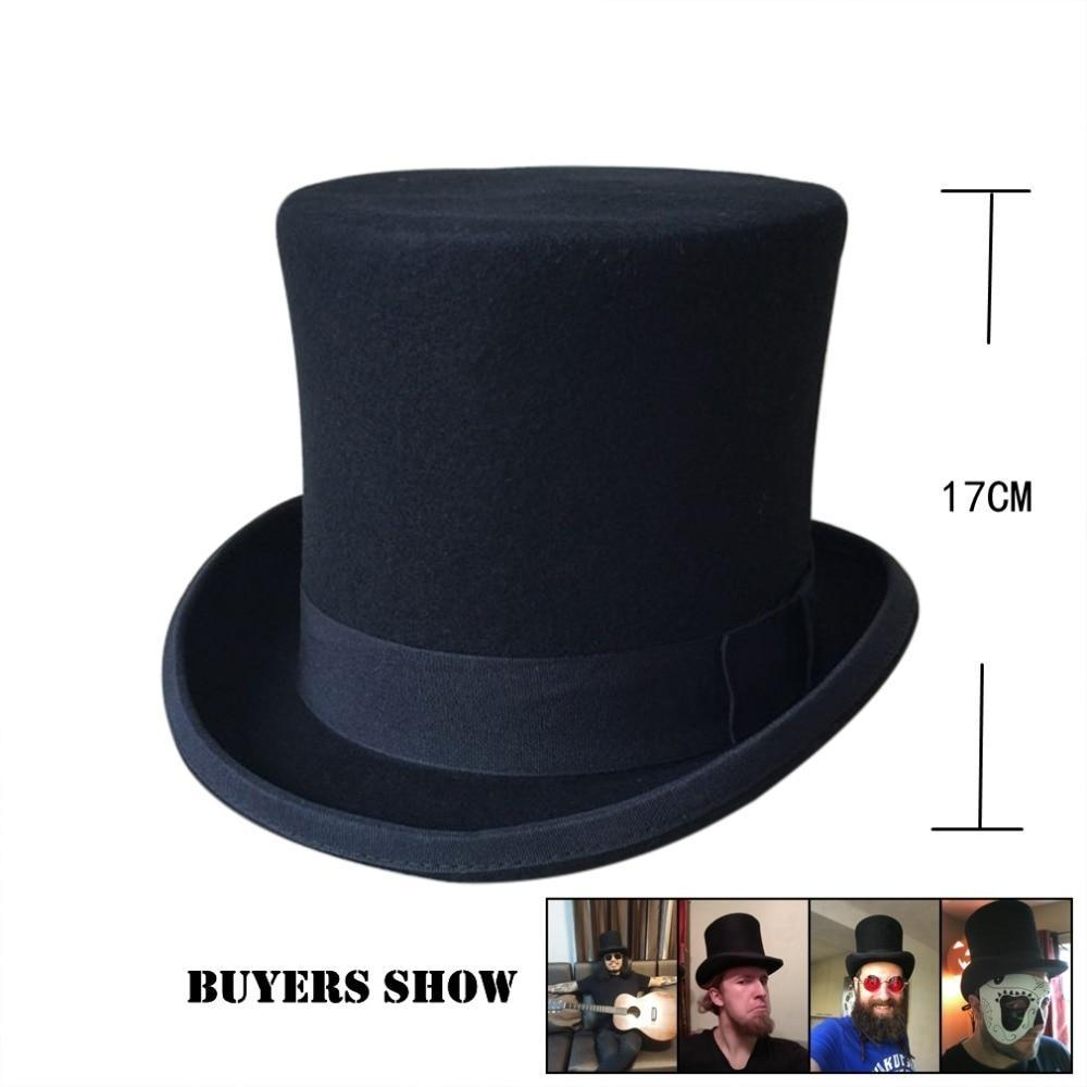 England Style Men Top Hat 100%Wool Fedoras Mad Hatter Top Hats Traditional  Flat Top b1492e88363c