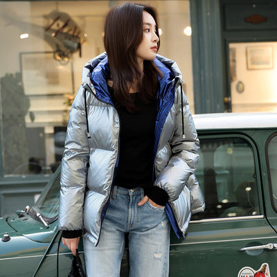 2019 New Women Fashion Glossy Jacket Thicken Coat Goose Down Female Hooded Short Jackets Winter Coat Parkas