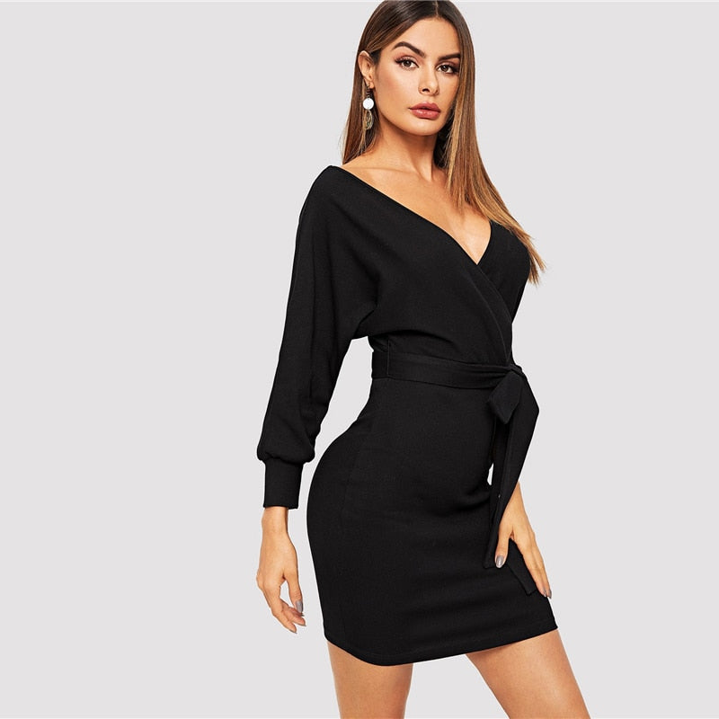 3a3961a3df SHEIN Black Batwing Sleeve Self Belted Wrap V Neck Bodycon Dress Autumn  Weekend Casual Going Out