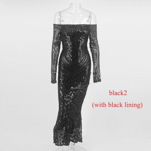 1f5dce3173 NATTEMAID Off Shoulder Black Maxi White Dress Mesh Bodycon Sequin Dress  Women Strapless Party Sexy Winter
