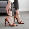 LALA IKAI Women Fashion Summer Sandals Leopard Pointed Toe Buckle Strap Wedding Pumps Party Shoes Sapato Seminino 014C3351-4