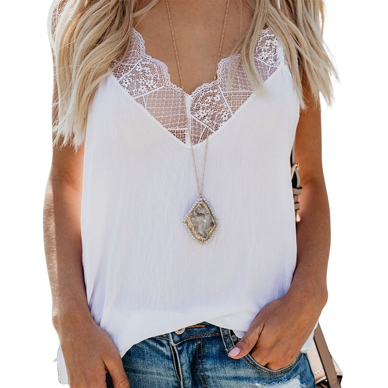 a0ba03241f6fa Summer Women Lace Patchwork Tank Top 2019 Casual V-Neck White Tops Women  Sexy Beach Top Female Camisole thin tops women