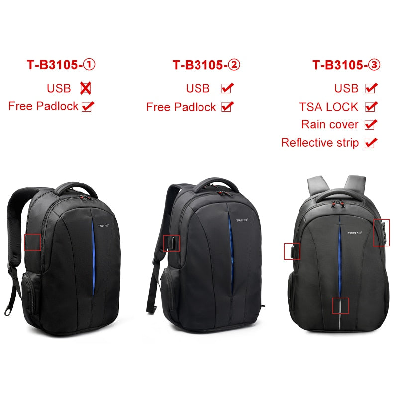 2d1831b5c138 Tigernu Waterproof 15.6inch Laptop Backpack NO Key TSA Anti Theft Men  Backpacks Travel Teenage Backpack