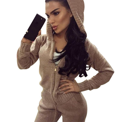 wool knitted suit winter warm suit for women zipper hooded cardigan with pant two pieces set female tracksuit