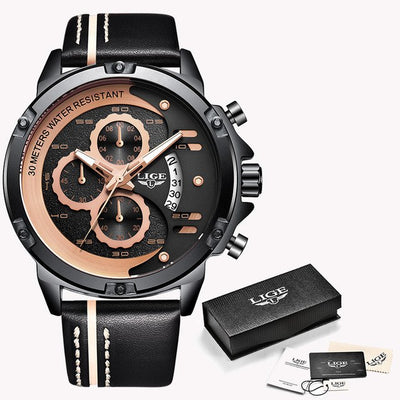 Relogio Masculino 2019 New Design Mens Watches LIGE Militray Sports Quartz Watch Men Black Leather Waterproof Male Wristwatches