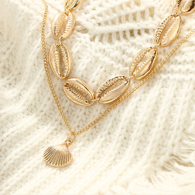 Vintage Gold Sea Shell Choker Collar Nautical Seashell Pendant Choker Necklace for Women Bohemian Beach Statement Jewelry Gifts